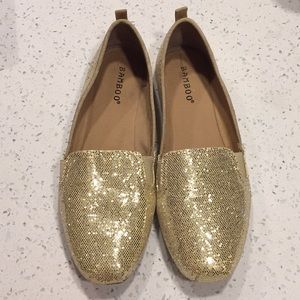 Bamboo gold glitter canvas Toms style flats